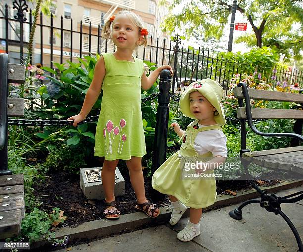 Seven yearold Sophie Ostroy daughter of Adrienne Shelly and 11 monthold old Cayla Levine niece of writer/director Adrienne Shelly stand in front of...