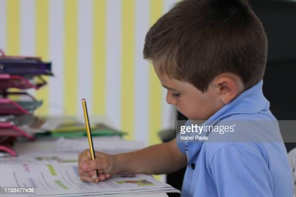 seven years old boy doing homework - 6 7 years stock pictures, royalty-free photos & images
