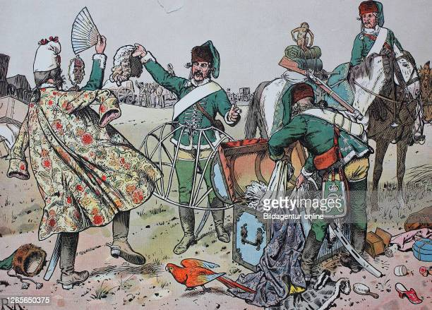 Seven Years' War, global conflict fought between 1756 and 1763, the robbery in Gotha, Pprussian husars loot the left luggage of the French /...