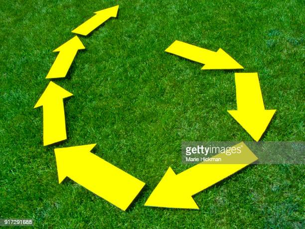 Seven yellow ARROWS on green grass representing a concept of a cycle or trend breaking through and leaping upwards.