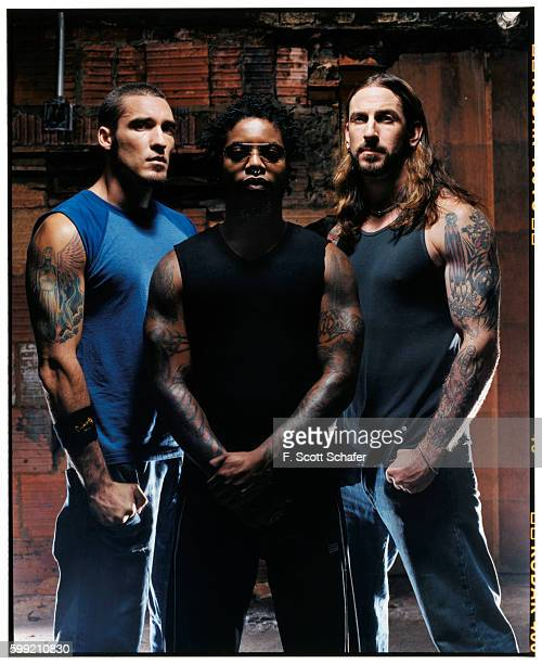Clint Lowery Lajon Witherspoon and John Connelly are photographed for Muscle and Fitness Magazine in 2003