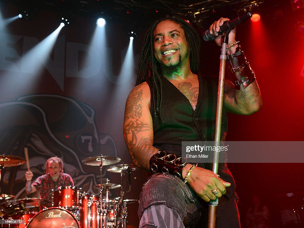 Sevendust drummer Morgan Rose (L) and singer Lajon Witherspoon perform at the Railhead at the Boulder Station Hotel & Casino as the band tours in support of the new album 'Black Out the Sun' on March 23, 2013 in Las Vegas, Nevada.