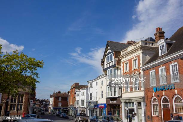 sevenoaks high street in kent, england - barclays brand name stock pictures, royalty-free photos & images