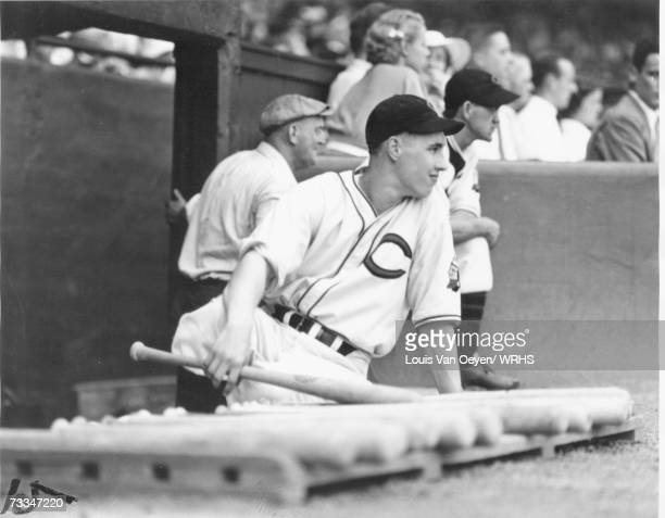 Seventeen year old Bob Feller waits for his turn at bat against the St Louis Browns at League Park In his debut as a starter Feller struck out 15...