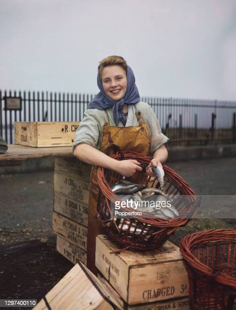 Seventeen year old Helen Munro, a former shorthand typist, prepares a basket of herring fish for kippering at an east coast fishing port in Scotland...