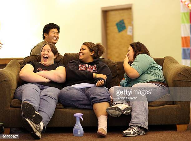 Seventeen yearold Marissa Hamilton laughs with her friends Elizabeth Fedorchalk and Makayla Smith as they sit in the girls dorm at Wellspring Academy...