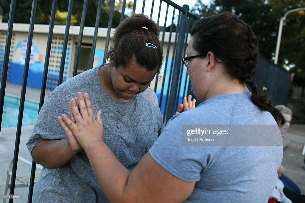 Seventeen year-old Marissa Hamilton (L) talks with her friend Elizabeth Fedorchalk after a morning walk at Wellspring Academy October 19, 2009 in Reedley, California. Struggling with her weight, seventeen year-old Marissa Hamilton enrolled at the Wellspring Academy, a special school that helps teens and college level students lose weight along with academic courses. When Marissa first started her semester at Wellspring she weighed in at 340 pounds and has since dropped over 40 pounds of weight in the first two months of the program. According to the Centers for Disease Control and Prevention, 16 percent of children in the US ages 6-19 years are overweight or obese, three times the amount since 1980.