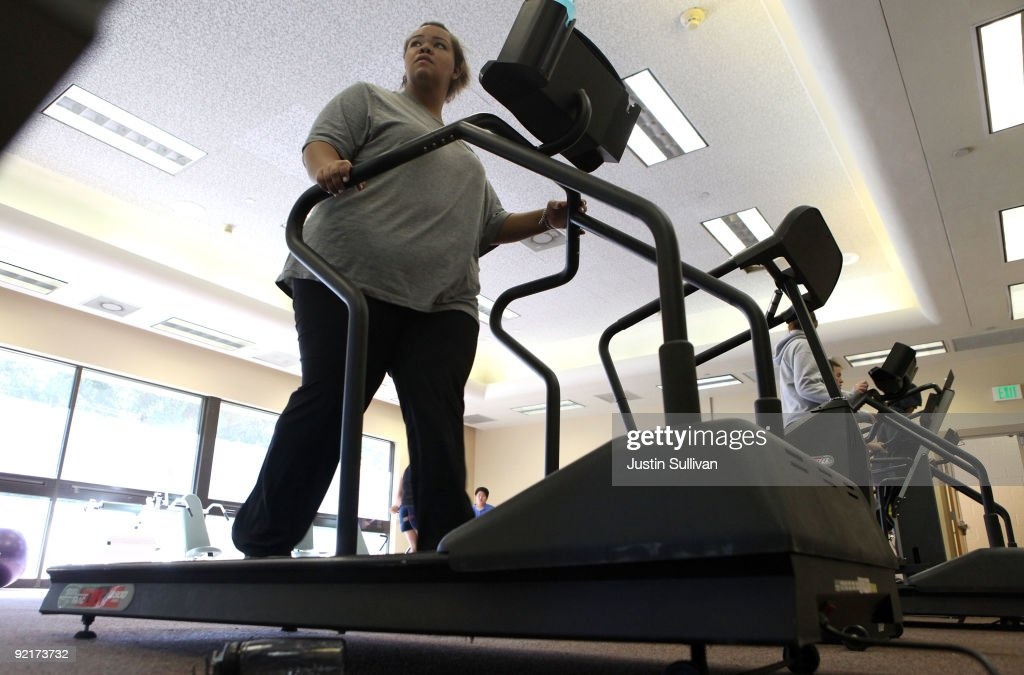 Seventeen year-old Marissa Hamilton walks on a treadmill during fitness training at Wellspring Academy October 19, 2009 in Reedley, California. Struggling with her weight, seventeen year-old Marissa Hamilton enrolled at the Wellspring Academy, a special school that helps teens and college level students lose weight along with academic courses. When Marissa first started her semester at Wellspring she weighed in at 340 pounds and has since dropped over 40 pounds of weight in the first two months of the program. According to the Centers for Disease Control and Prevention, 16 percent of children in the US ages 6-19 years are overweight or obese, three times the amount since 1980.