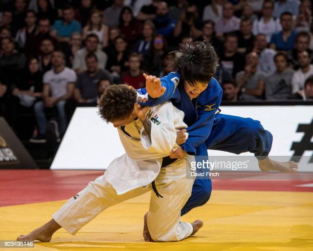 Seventeen years old Uta Abe of Japan here avoiding an attack won the u52kg gold medal after her opponent Amandine Buchard of France received a third...