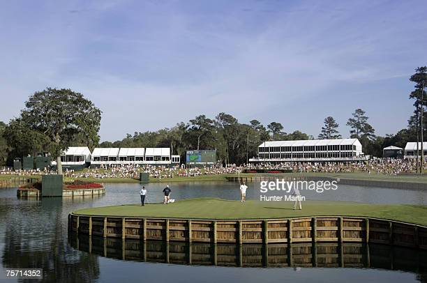 Seventeenth green during the third round of THE PLAYERS Championship held on THE PLAYERS Stadium Course at TPC Sawgrass in Ponte Vedra Beach Florida...