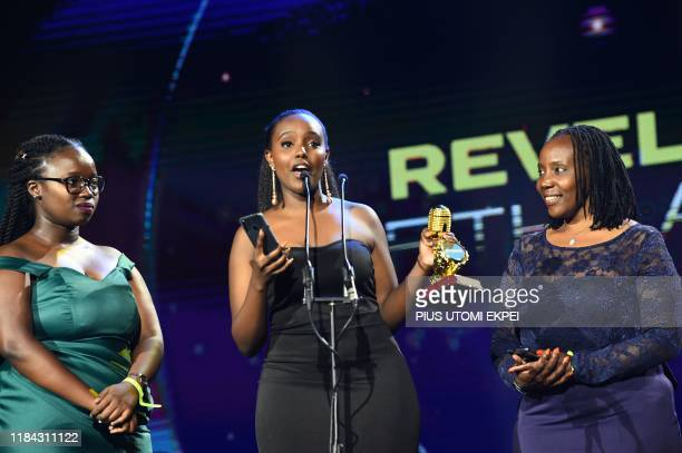 Seventeenyearold Kenyan Pop and Rnb singer Nikita Kering reacts after receiving the Revelation of the African Continent Award award during the 2019...