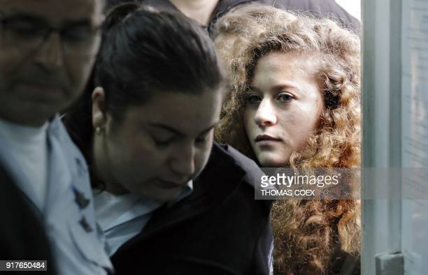 TOPSHOT Seventeenyearold Palestinian Ahed Tamimi a wellknown campaigner against Israel's occupation arrives for the beginning of her trial in the...
