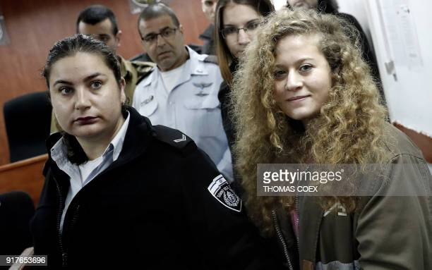 Seventeenyearold Palestinian Ahed Tamimi a wellknown campaigner against Israel's occupation arrives for the beginning of her trial in the Israeli...