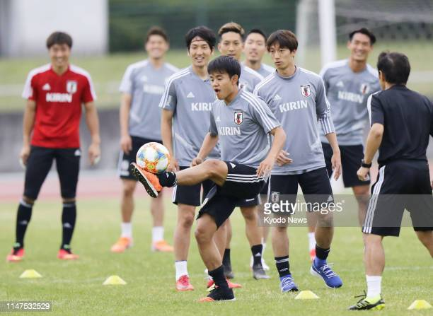 Seventeenyearold Takefusa Kubo takes part in Japan national team training in Toyota Aichi Prefecture on June 2 for a football friendly against...