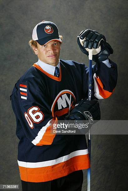 Seventh overall pick Kyle Okposo of the New York Islanders poses for a portrait backstage during the 2006 NHL Draft held at General Motors Place on...