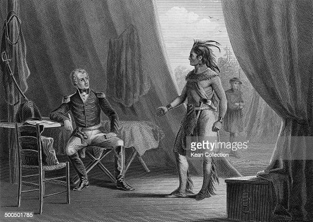 Seventh President of the United States Andrew Jackson talks with Muscogee Chief William Weatherford circa 1815. From an engraving by W. Ridgway after...