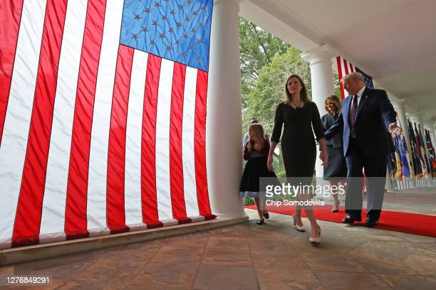 Seventh U.S. Circuit Court Judge Amy Coney Barrett leaves an event in the Rose Garden where President Donald Trump introduced her as his nominee to...
