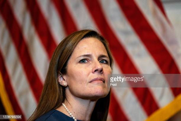 Seventh U.S. Circuit Court Judge Amy Coney Barrett meets with Senate Judiciary Committee Chairman Lindsey Graham at The US Capitol on September 29,...