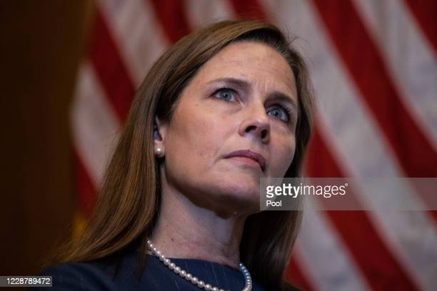 Seventh U.S. Circuit Court Judge Amy Coney Barrett, President Donald Trump's nominee for the U.S. Supreme Court, meets with Sen. Ted Cruz as she...