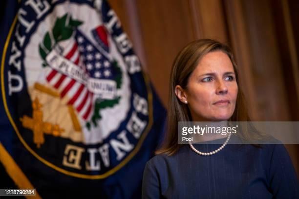 Seventh U.S. Circuit Court Judge Amy Coney Barrett, President Donald Trump's nominee for the U.S. Supreme Court, meets with Senate Majority Whip John...