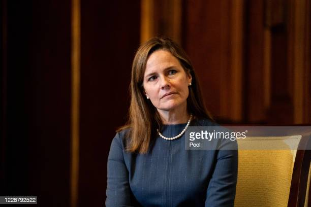 Seventh U.S. Circuit Court Judge Amy Coney Barrett, President Donald Trump's nominee for the U.S. Supreme Court, meets with Sen. Rick Scott as she...