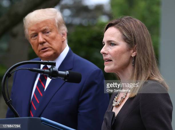 Seventh U.S. Circuit Court Judge Amy Coney Barrett speaks after U.S. President Donald Trump announced that she will be his nominee to the Supreme...