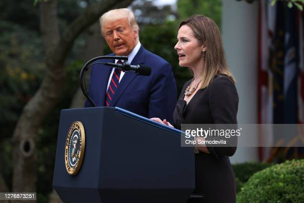 Seventh US Circuit Court Judge Amy Coney Barrett speaks after US President Donald Trump announced that she will be his nominee to the Supreme Court...