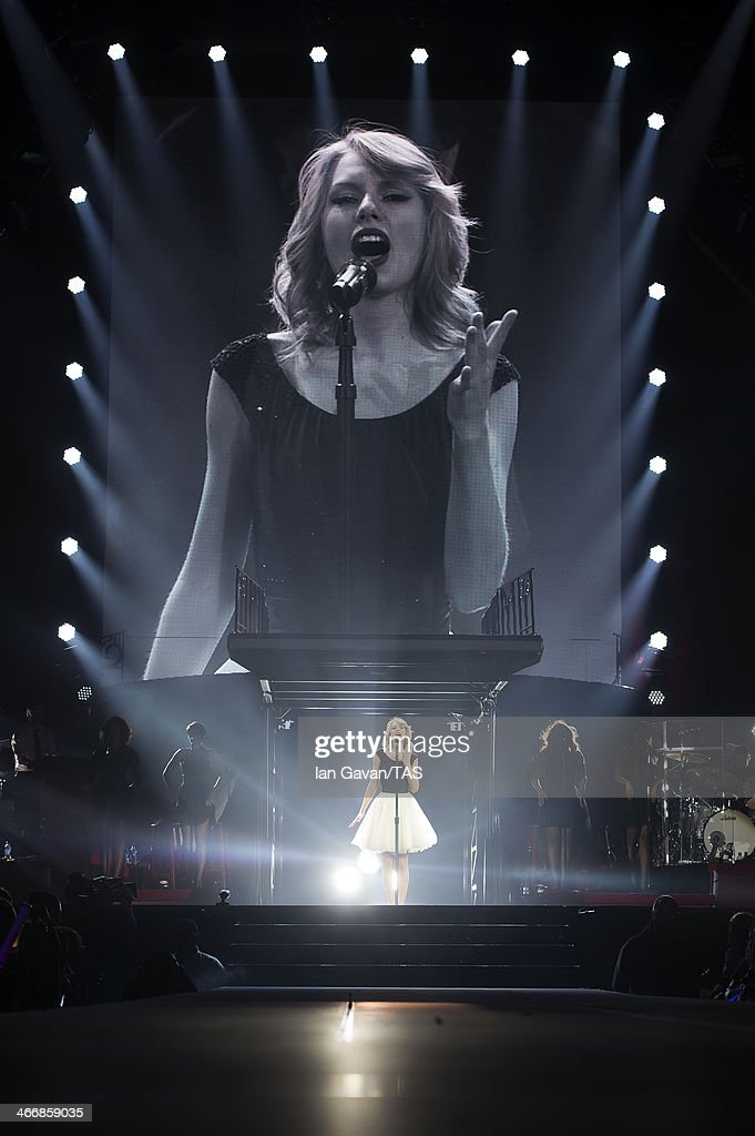 Seven-time Grammy winner Taylor Swift on the third night of the European leg of her blockbuster The RED Tour with the third of five sold-out shows at London's O2 Arena, playing to a capacity crowd of more than 15500 fans on February 4, 2014 in London, England.