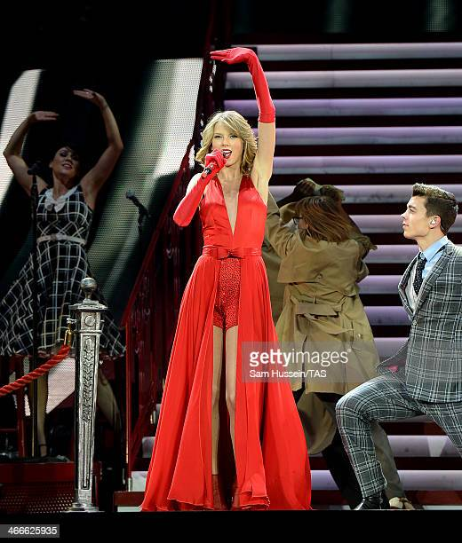 Seventime Grammy winner Taylor Swift performs on stage as she continued the European leg of her blockbuster The RED Tour with the second of five...