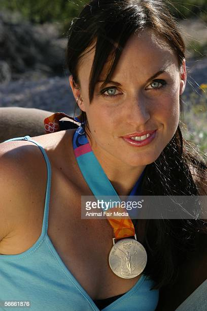 Seventime Olympic Medalist Amanda Beard poses for portraits during a photo shoot at her home in Tucson AZ on May 15 2005