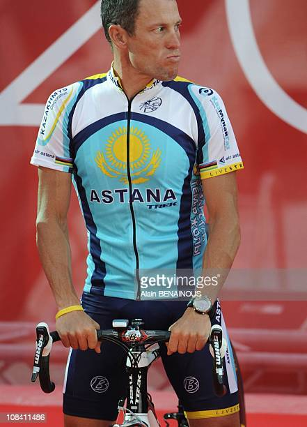 Seventime 'Tour de France' winner American Lance Armstrong during the official presentation of cycling teams in Monaco on Thursday July 2rd ahead of...