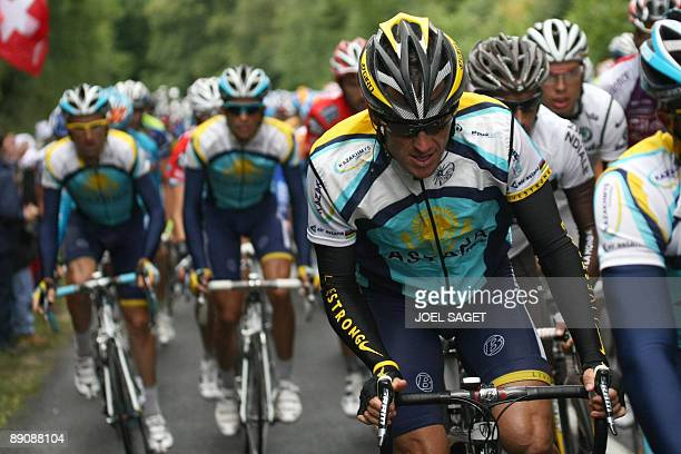 Seventime Tour de France winner and Kazakh cycling team Astana 's Lance Armstrong of the United States rides in the pack with teammate 2007 Tour de...