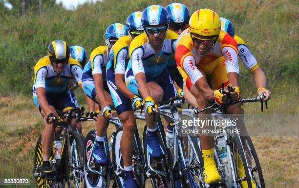Seventime Tour de France winner and Kazakh cycling team Astana 's rider Lance Armstrong of the United States competes with 2007 Tour de France winner...