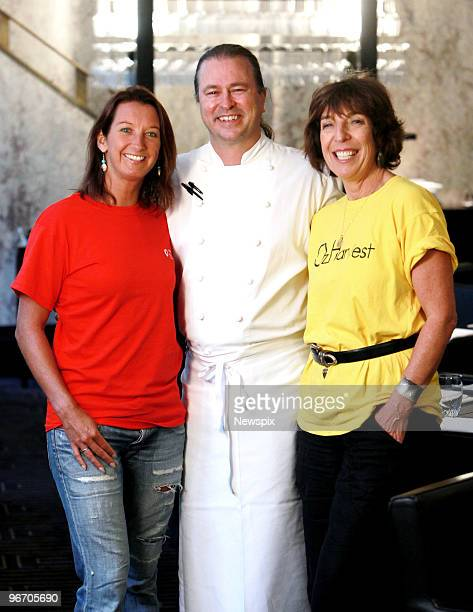 Seventime world champion surfer Layne Beachley with chef Neil Perry and OzHarvest charity founder Ronni Khan pose at the Rockpool Bar and Grill on...