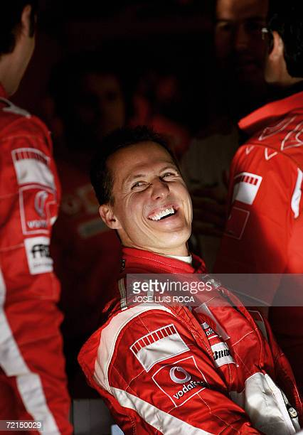 Seventime world Formula One champion German Michael Schumacher smiles during a training session at the Jerez recetrack 12 October 2006 Schumacher's...