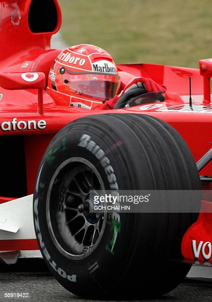 Seventime world Formula One champion Michael Schumacher in his ferrari during the second free practice session of the Chinese Grand Prix at the...