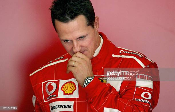 Seventime world Formula One champion Michael Schumacher ponders during a training session at the Jerez recetrack 12 October 2006 Schumacher's bid for...