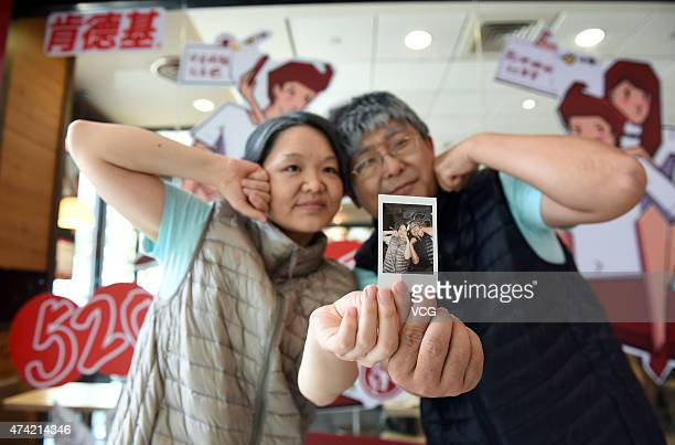 """Seventy-year"""" old couple teke a selfie on Network Valentine's Day on May 20, 2015 in Zhengzhou, Henan province of China. A couple of lovers over..."""