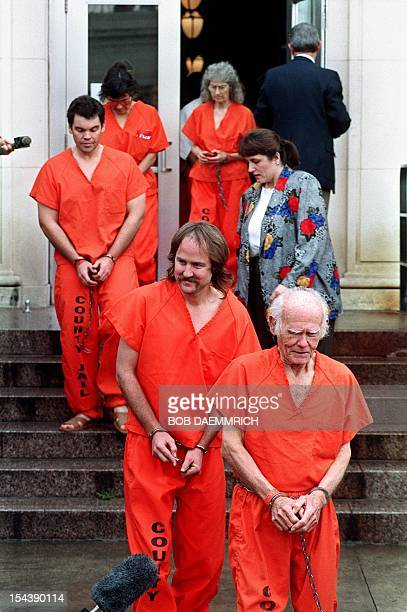 Seventyyear old James Lauter shown in a file photo dated leading fellow Branch Davidian Cult members as they file out of the federal courthouse...