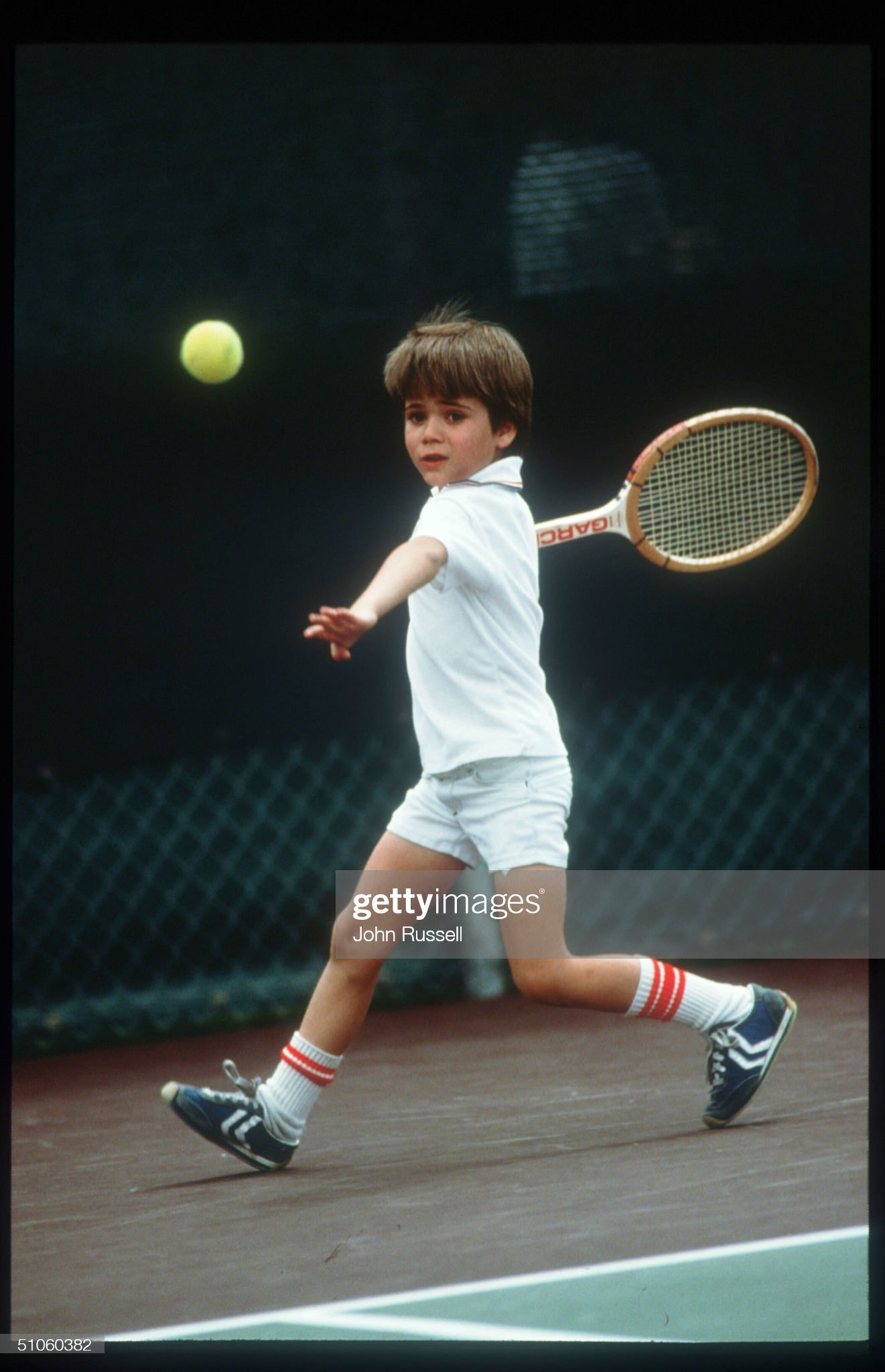 Seven Year Old Andre Agassi Plays Tennis April 1977 In Las Vegas Nv Agassi Becomes One : News Photo