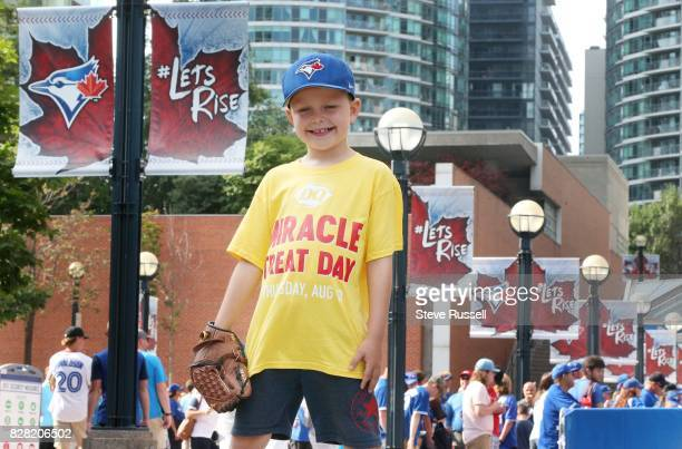 TORONTO ON AUGUST 8 Sevenyearold Harrison Maye who is battling cancer will be throwing the first pitch at the Toronto Blue Jays game on Wednesday...
