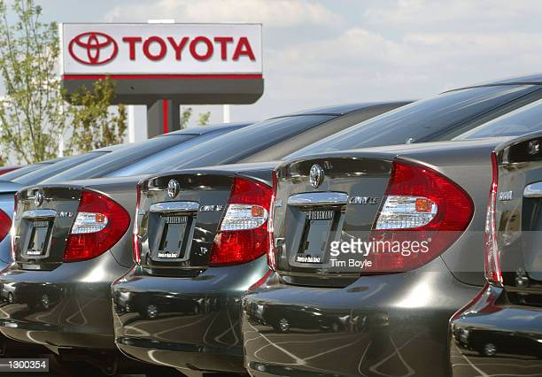 Several 2002 Toyota Camrys are visible at Bredemann Toyota August 8, 2002 in Park Ridge, Illinois. Japan's biggest automaker, Toyota Motor Corp....