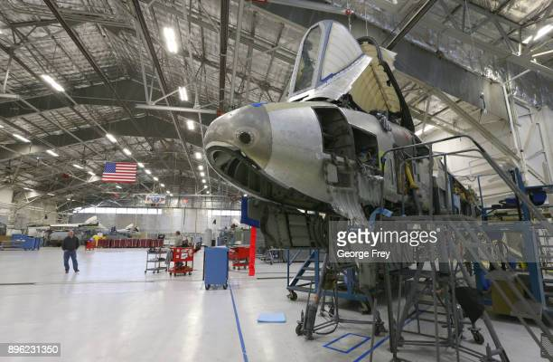 Several A10 Thunderbolt Warthogs sit in an hanger for maintenance and repair on December 20 2017 at Hill Air Force base in Ogden Utah Hill Air Force...