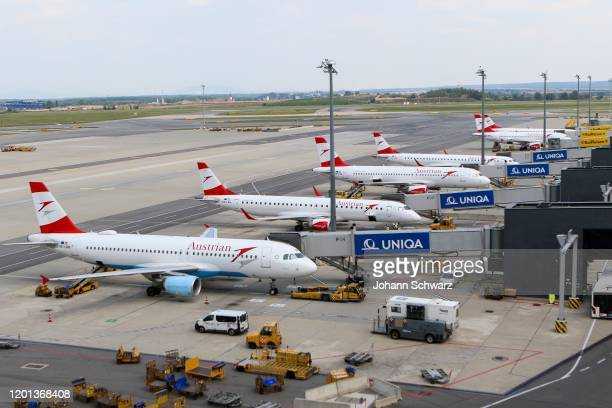 Several Airbus 320200 during the Austrian Airlines at Airport Vienna on February 13 2020 in Schwechat Austria