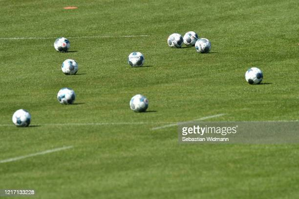 Several balls lie on a pitch during a training session at Saebener Strasse training ground on April 06 2020 in Munich Germany