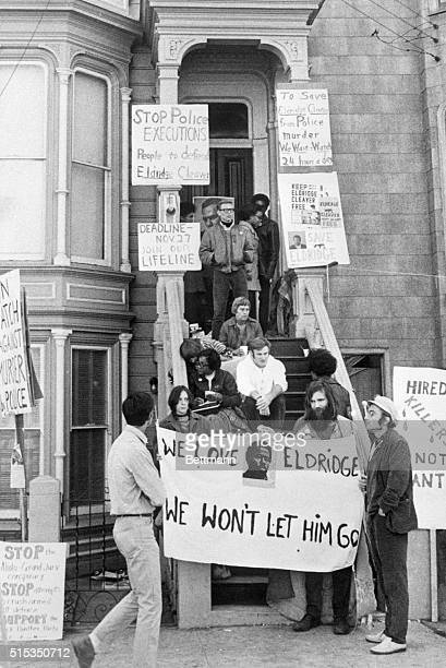 Several Black Panthers and their sympathizers hold a vigil for fugitive Eldridge Cleaver on the stoop of his house in San Francisco