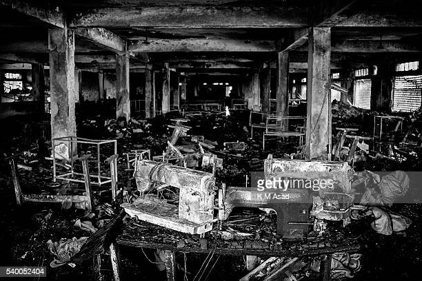 Several burnt sewing machines are in the first floor of the Garib Garib sweater factory after a fire in Gazipur Dhaka Bangladesh February 26 2010...