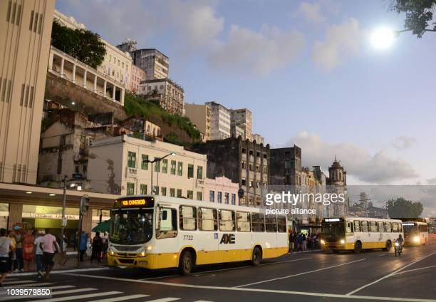 Several buses stop at Elevador Lacerda in Salvador Brazil 06 June 2014 The FIFA World Cup will take place in Brazil from 12 June to 13 July 2014...