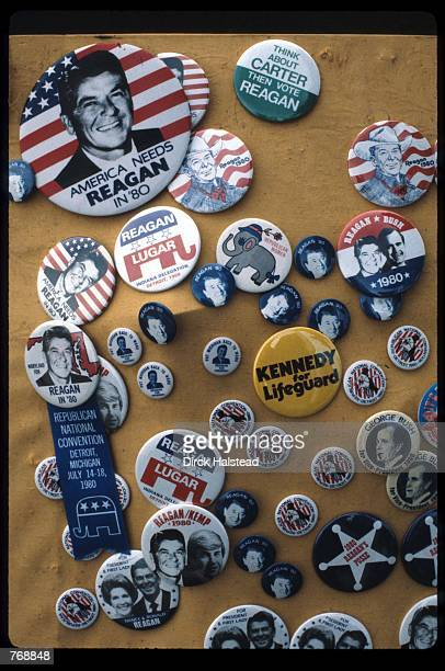 Several campaign buttons depict support for presidential candidate Ronald Reagan at the Republican National Convention July 21 1980 in Detroit MI...