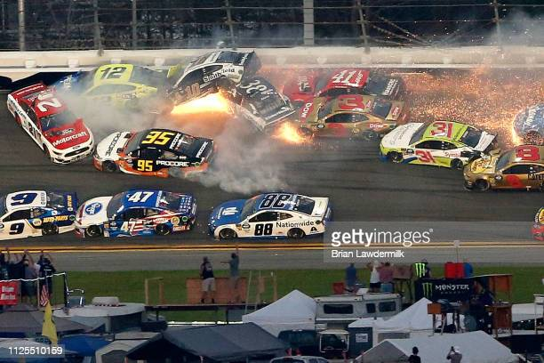Several car crash during the Monster Energy NASCAR Cup Series 61st Annual Daytona 500 at Daytona International Speedway on February 17 2019 in...